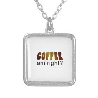 コーヒーAmirightか。 シルバープレートネックレス