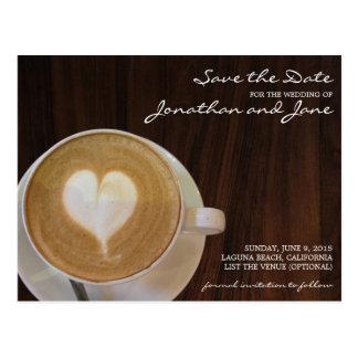 コーヒーBarristaのカフェのラテの結婚式の保存日付 ポストカード