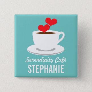 コーヒーCaféの店のカスタムな従業員の名前入りの記章 5.1cm 正方形バッジ