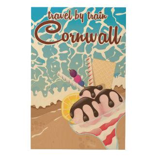 コーンウォールのアイスクリームの漫画旅行ポスター ウッドウォールアート