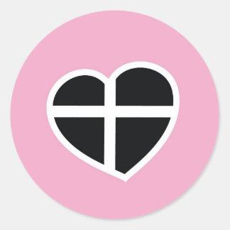 コーンウォールのピンクのハート ラウンドシール