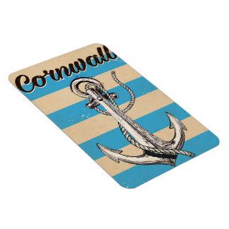 コーンウォールの魚釣りのいかり旅行ポスター マグネット