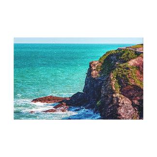 コーンウォール険しい沿岸崖 キャンバスプリント