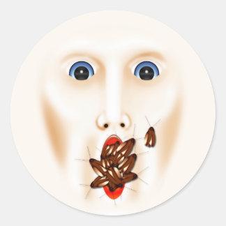 ゴキブリの口総体のハロウィンが付いている気色悪い顔 ラウンドシール