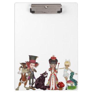 ゴシックの不思議の国のアリスの帽子屋猫の赤い白 クリップボード