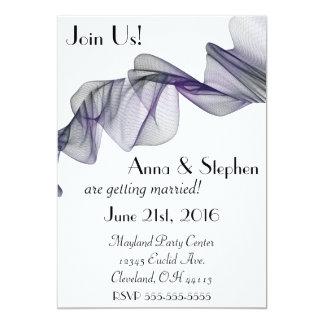 ゴシックの黒い及び紫色のベールの結婚式招待状 カード