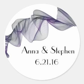 ゴシックの黒い及び紫色のベールの結婚式用シール ラウンドシール