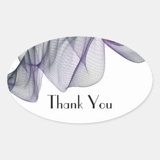 ゴシックの黒い及び紫色のベールはステッカー感謝していしています 楕円形シール