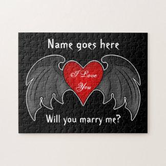 ゴシック様式えんじ色の飛んだハートの求婚 ジグソーパズル