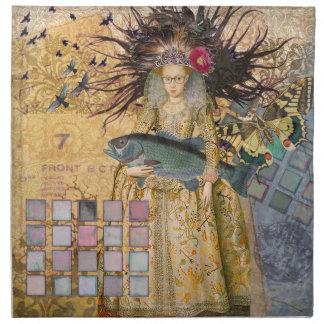 ゴシック様式お洒落な魚類の女性のルネサンスの魚釣り ナプキンクロス
