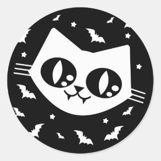 ゴシック様式かわいいの子猫猫および吸血コウモリ ラウンドシール