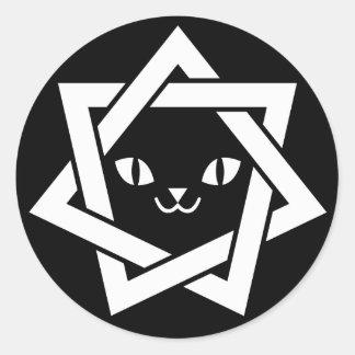 ゴシック様式かわいい猫の顔の星 ラウンドシール