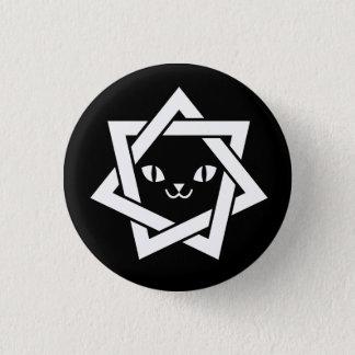 ゴシック様式かわいい猫の顔の星 3.2CM 丸型バッジ