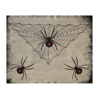 ゴシック様式クロゴケグモの蜘蛛の巣ハロウィン ウッドウォールアート