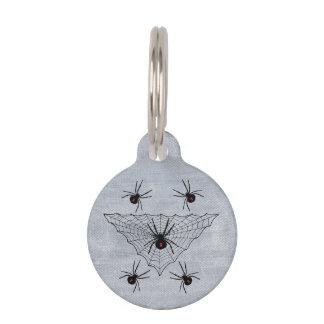 ゴシック様式クロゴケグモの蜘蛛の巣ハロウィン ペット ネームタグ