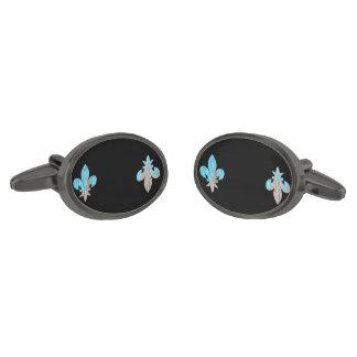 ゴシック様式グランジな(紋章の)フラ・ダ・リのカジュアルなカフスボタン ガンメタル カフスボタン