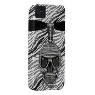 ゴシック様式スカルのダイヤモンド及びシマウマのプリント Case-Mate iPhone 4 ケース