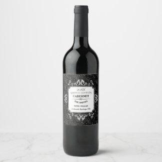 ゴシック様式スカルのペイズリーパターン ワインラベル
