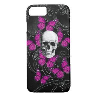 ゴシック様式スカル及び紫色の蝶 iPhone 7ケース