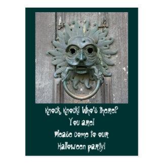 ゴシック様式ドアノブのハローウィンパーティの招待状 ポストカード