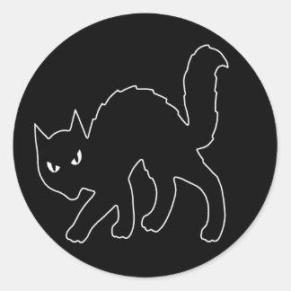 ゴシック様式ハロウィンの恐い子猫猫 ラウンドシール