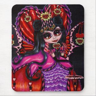 ゴシック様式ハート及び花のビクトリアンな妖精の女の子の人形 マウスパッド