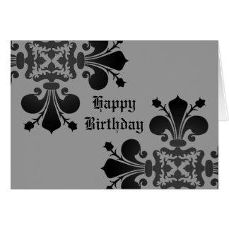 ゴシック様式パンクの王室のな(紋章の)フラ・ダ・リのダマスク織の黒の灰色 カード