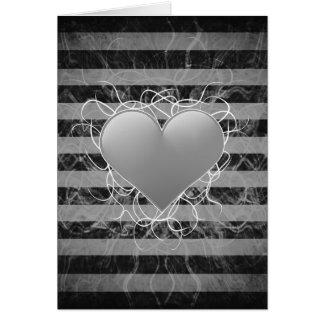 ゴシック様式パンクのemoの白黒ハートはとの縞で飾ります カード