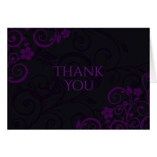 ゴシック様式プラム紫色のサンキューカード カード