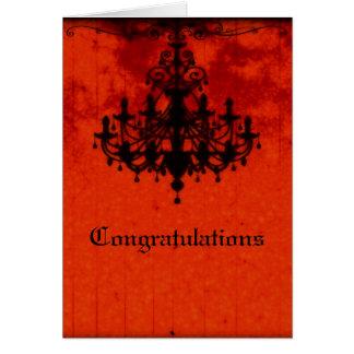 ゴシック様式ロマンスのビクトリアンなシャンデリアの結婚式 カード