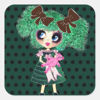 ゴシック様式ロリータの女の子のエメラルドのガーリーなギフト スクエアシール
