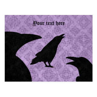 ゴシック様式ワタリガラス黒および紫色 ポストカード