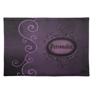 ゴシック様式ヴィンテージの紫色の名前入りなランチョンマット ランチョンマット