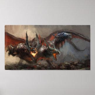 ゴシック様式三重ヘッドのドラゴンの小型ポスター ポスター