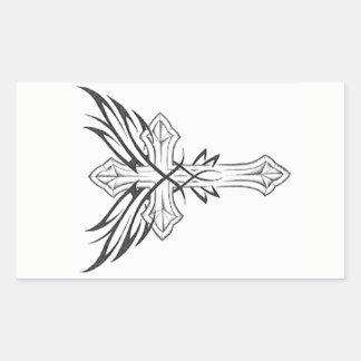 ゴシック様式十字 長方形シール