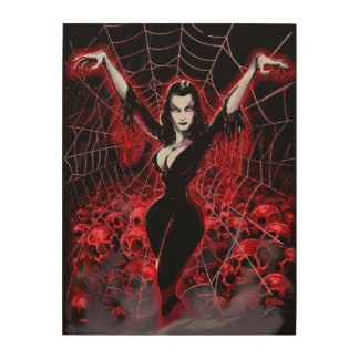 ゴシック様式吸血鬼の女性の蜘蛛の巣 ウッドウォールアート