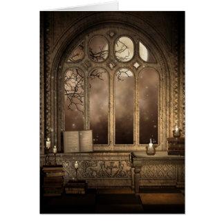 ゴシック様式図書館の窓のメッセージカード カード