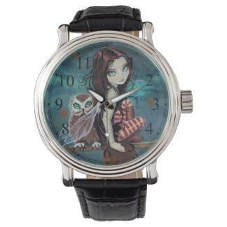 ゴシック様式大きい目の妖精およびフクロウのファンタジーの芸術 腕時計