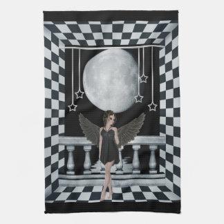 ゴシック様式天使のチェック模様の部屋及び月タオル キッチンタオル