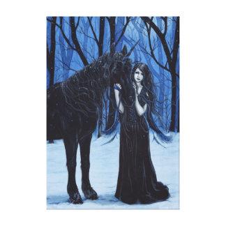 ゴシック様式妖精および黒いユニコーンのキャンバスのプリント キャンバスプリント