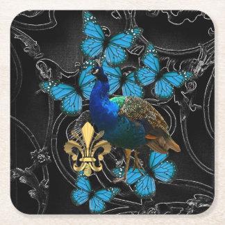 ゴシック様式孔雀および蝶 スクエアペーパーコースター