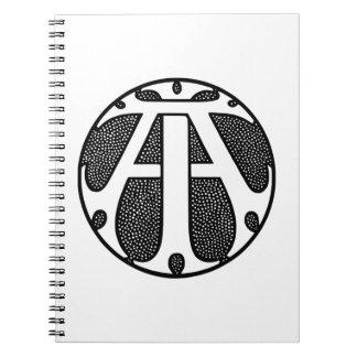 ゴシック様式手紙のAIの硬貨のモノグラム ノートブック
