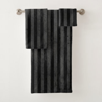 ゴシック様式汚い黒のストライプ バスタオルセット
