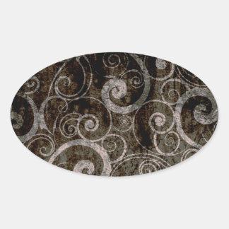 ゴシック様式渦巻 楕円形シール