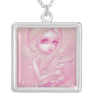 ゴシック様式白子のわに天使のネックレスの妖精 シルバープレートネックレス