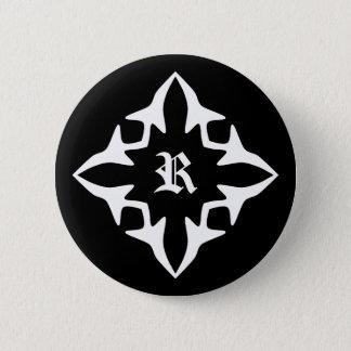 ゴシック様式白黒エレガントなモノグラム 5.7CM 丸型バッジ