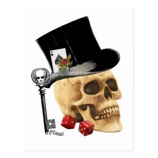 ゴシック様式相場師のスカルの入れ墨のデザイン ポストカード