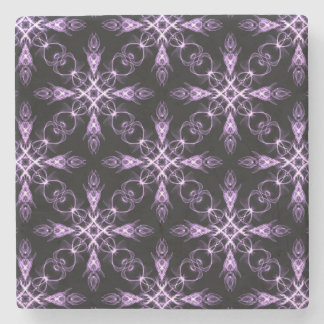 ゴシック様式花の黒いおよび紫色のフラクタルパターン ストーンコースター