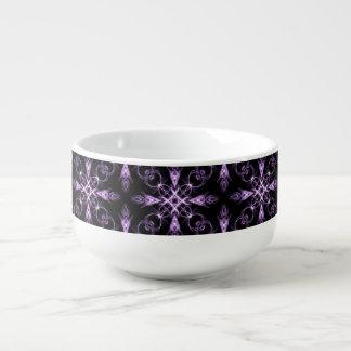 ゴシック様式花の黒いおよび紫色のフラクタル スープマグ