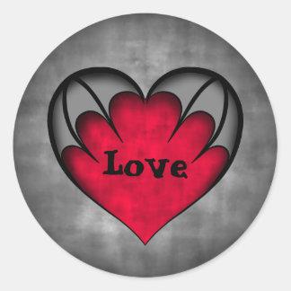 ゴシック様式赤いハートのバレンタインデー愛 ラウンドシール